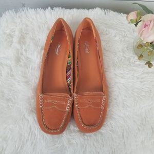 Wanted Orange Loafers Moccasins Penny Style Sz 8